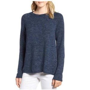 Eileen Fisher Marled Blue Organic Cotton Sweater